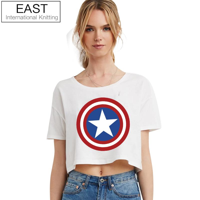 ESTE TEJIDO H590 2017 Nuevo Verano Punk Mujeres Camiseta Para Mujer Logo Capitán América Camiseta Negra Camiseta Punk Tallas grandes ropa barata
