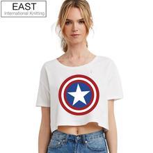 EAST KNITTING H590 2017 New Summer Punk Women T Shirt Womens Captain America Logo Black T-shirt Punk Tee Plus Size Cheap Clothes