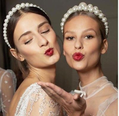 Trendy Luxe Grote Parel Hoofdband Voor Vrouwen Elegante Hoofdband Wilde Persoonlijkheid Mode Bezel Tulband Meisjes Haar Hoofddeksels