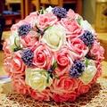2017 Hermosas Flores Hechas A Mano Artificial Decorativo Flores Color de Rosa Caliente Venta Accesorios Nupcial de La Novia Ramos de Novia con Ribbo