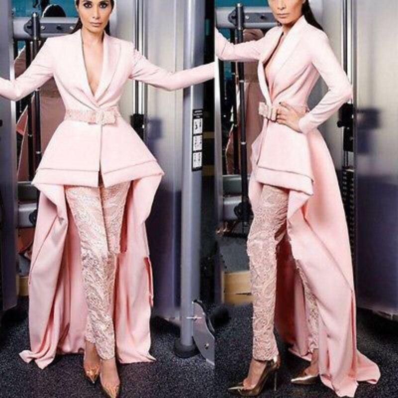 Élégant à manches longues robes de bal 2019 femmes dentelle pantalon costumes sur mesure formelle robes de soirée