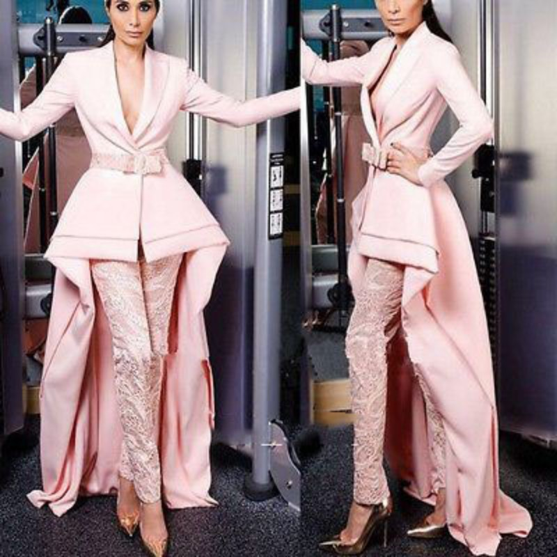 Elegant Long Sleeve Prom Dresses 2020 Women Lace Pant Suits Custom Made Formal Evening Gowns