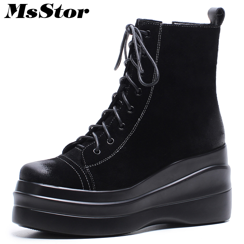 Msstor Thick Bottom Lace Up Women Boots Fashion Metal Zipper Ankle Boots Winte Shoes Elegant Platform Black Boot Shoes For Woman beffery 2018 british style patent leather flat shoes fashion thick bottom platform shoes for women lace up casual shoes a18a309