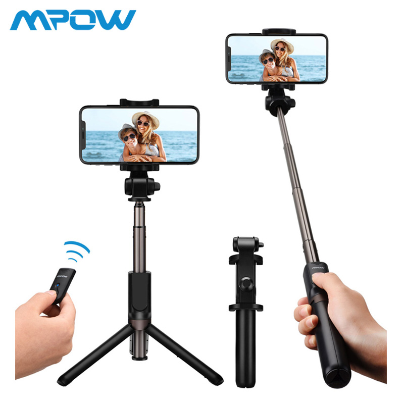 Mpow PA108 3 in 1 Selfie Stick Bluetooth Remote Control+Monopod+Tripod 360 Degree Rotation Phone Holder For iPhone X 8 7 Samsung for iphone xs max xr xs x selfie stick for iphone x 8 7 6 6s plus 5 5s wired selfie stick extendable monopod for lightning