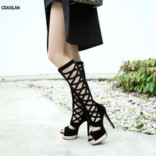 CDAXILAN new arrivals high boots women ladies summer party shoes faux sued super heel spike heels peep toe knee-high