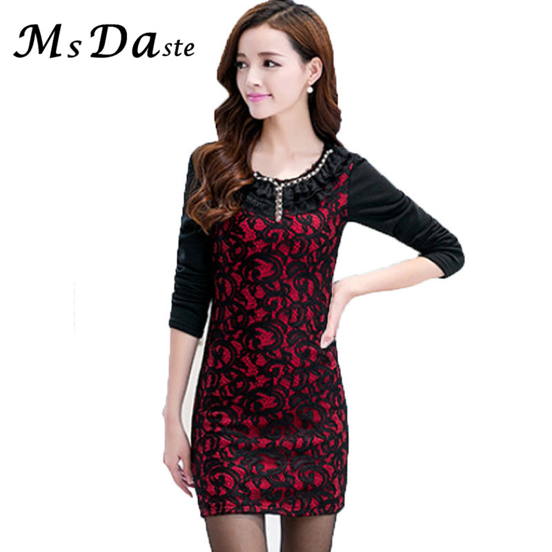 Red Velvet Black Lace Dress