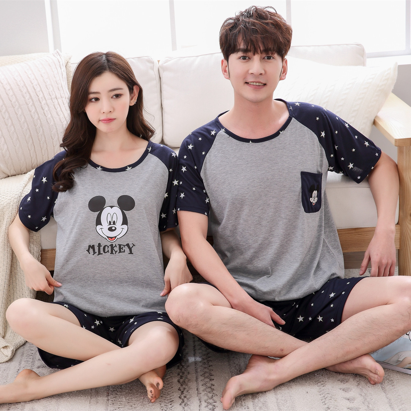 Foply Spring Summer Womens   Pajamas     Set   Couple Sleepwear Women Man   Pajamas   Cartoon Top And Shorts   Pajamas   Short Sleeve Homewear