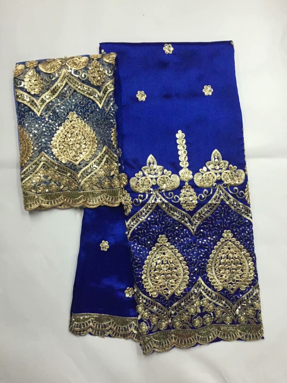 Royal blue george lace fabric 5yards indian george fabric with 2yards tulle lace raw silk george