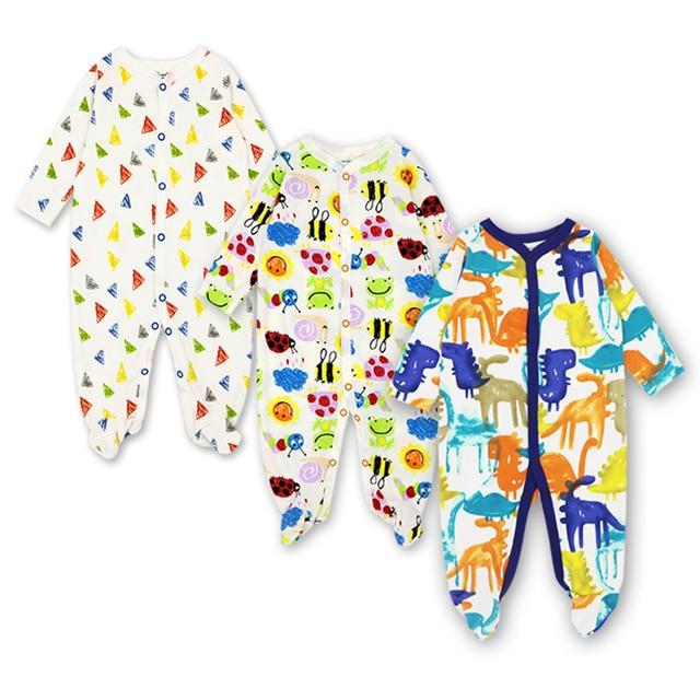 Pasgeboren Rompertjes Baby Meisjes Jongen Kleding Lange Mouwen Hansop 0-12 Maanden Leuke Cartoon Print Outfits Baby Jumpsuit 3 stuks 1