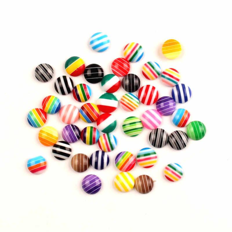 200 Uds resina mixta redonda decoración de rayas artesanía Flatback cabujón Kawaii DIY adornos para álbum de recortes Accesorios