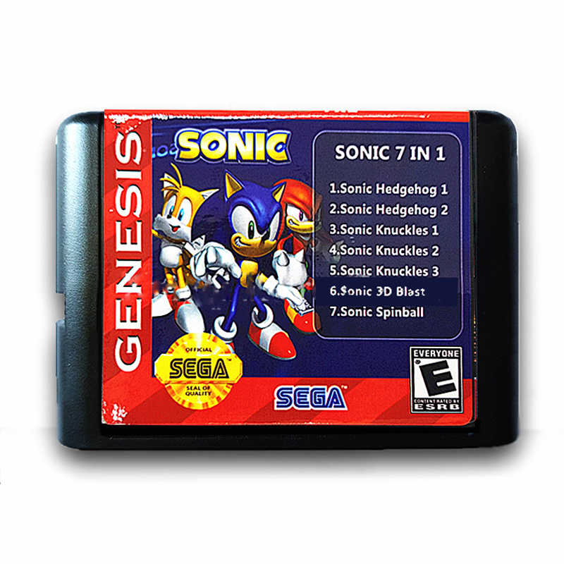 Sonic 7 in 1 Save Progress 16 Bit Game Card for Sega Mega Drive for Sega Genesis