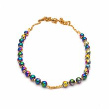 Wholesale 2019 New Coming Hot Sell Style Trendy Colorful Steel Ball Stainless Steel Necklace Cool For Women N04033(China)