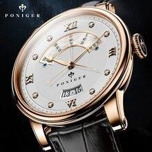 Швейцарский роскошный бренд PONIGER, мужские часы, Япония NH35A, автоматические механические часы MOVT, мужские часы с двойным циферблатом и сапфировым стеклом