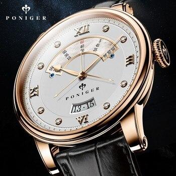 Schweiz Luxus Marke PONIGER herren Uhr Japan NH35A Automatische Mechanische MOVT Uhren Männer Doppel Zifferblatt Sapphire Uhr P719-4