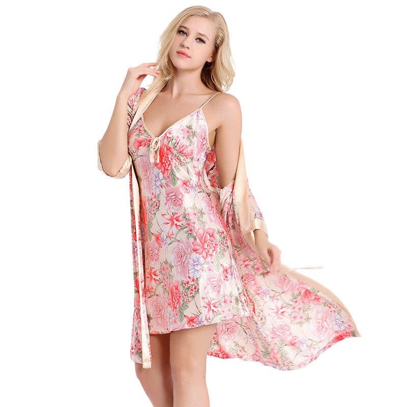 2016The Spring Autumn Sexy Big Yards Household   Sleepshirts   Lady Condole   Nightgown   Robe Two-piece Thin Emulation Silk Nightdress
