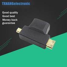 3 in 1 HDMI Female to Mini HDMI Male + Micro HDMI Male Adapter Connector Black