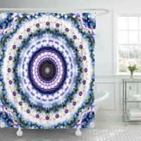 Abstractiabstract Digital Geometrical Pattern Round Mandala Circle Circular Curve Waterproof Shower Curtain Curtains