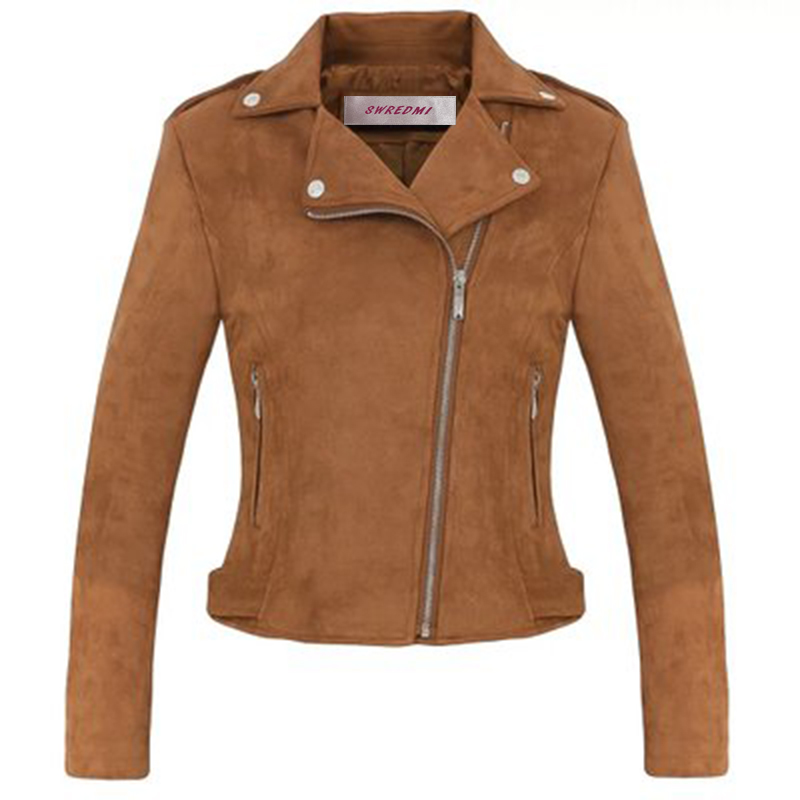 SWREDMI Spring New Short Paragraph Deer Velvet Jacket Slim   Leather   Coat Female   Suede   Clothing frosted   Leather   Jacket Outerwear