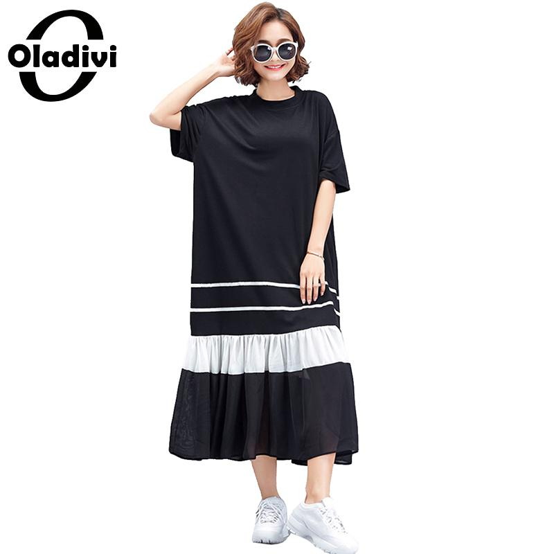 Oladivi Brand Clothes Fashion Woman Solid Black White Patchwork Casual Shirt Dress Lady Loose Dresses Female Long Top Tee Tunics