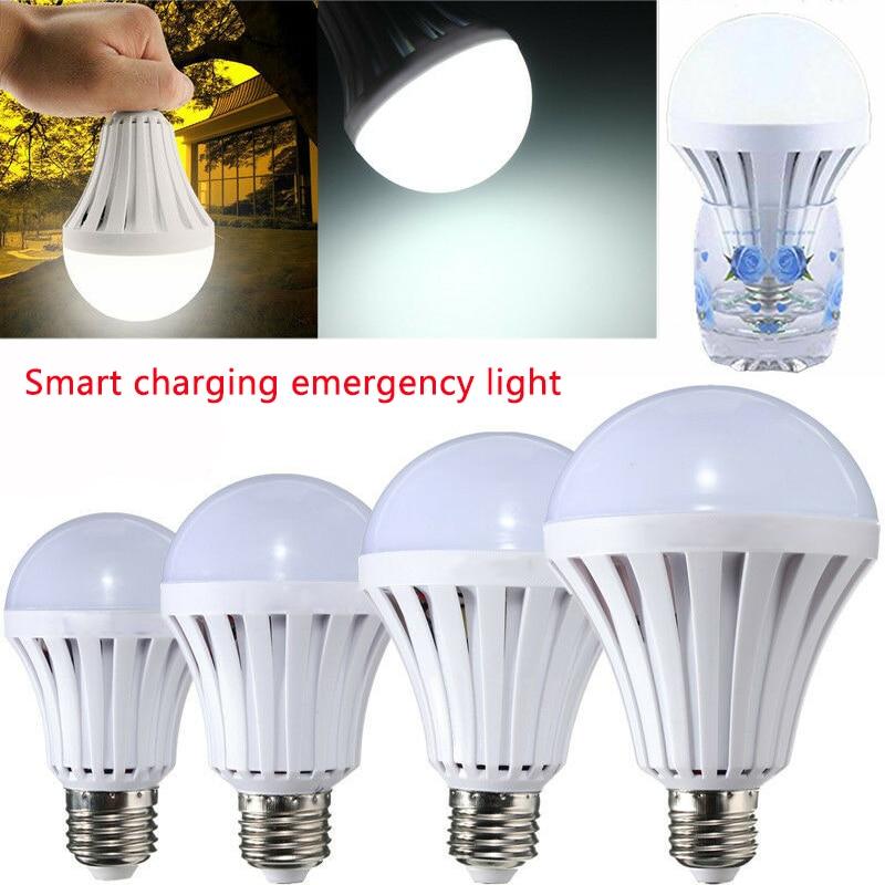 Smart LED Emergency Light 5W 7W 9W 12W Emergency Lamp Intelligent Charging Emergency Light Bulb Rechargeable Battery Led Lamp