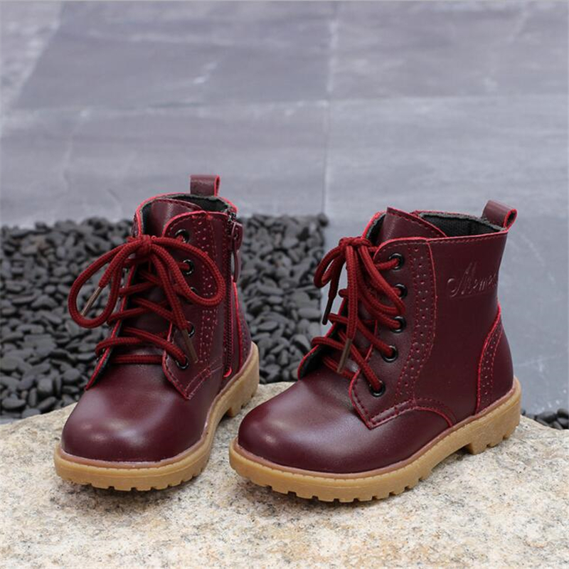 2017 Autumn Winter Boys Girls Boots Baby Boots Children Snow Boots Boys Plus velvet warm waterproof Cotton Shoes