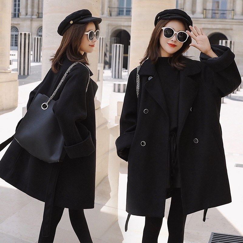 a8f59eb8 US $62.0 |Classic Stylish Black Tailored Collar Woolen Loose Coat Winter  Fashion Girls Woollen Overcoat Waisted Jacket-in Wool & Blends from Women's  ...