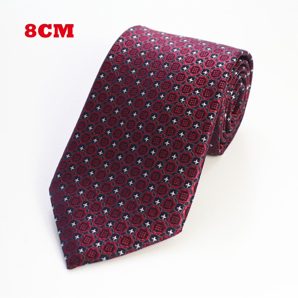 RBOCOTT New 8cm Jacquard Woven Tie For Men Striped Neckties Man's Neck Tie For Wedding Business Party Factory Sale