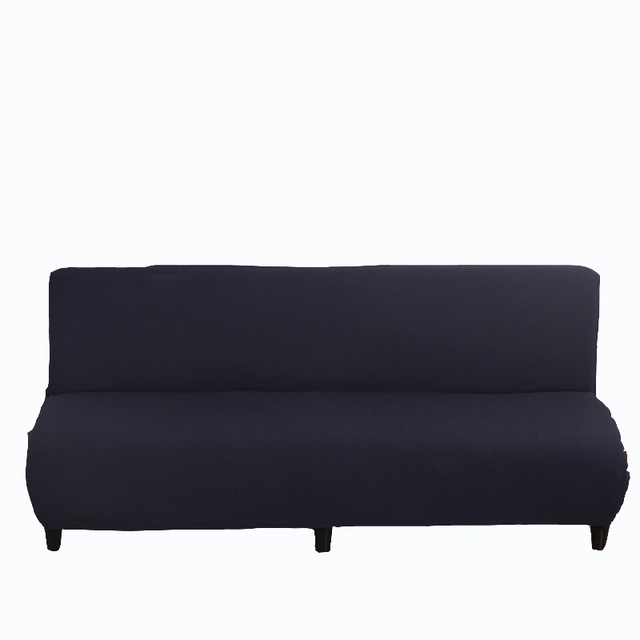 Sofa Bed Covers Fixing A Broken Arm Navy Blue Solid Color Universal Stretch Armless Couch Slipcovers Elastic Knitted Fabric For Home