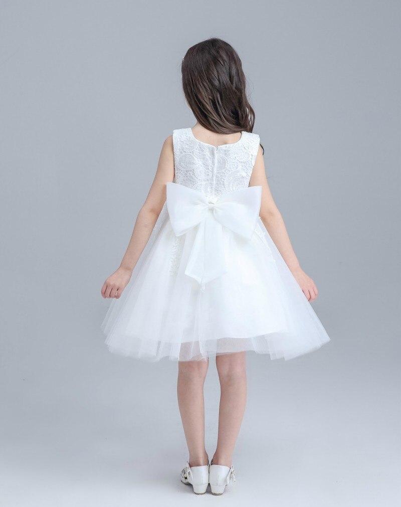 Ball Gown Flower Girl Dresses White Lace Tulle Knee Length Kids ...
