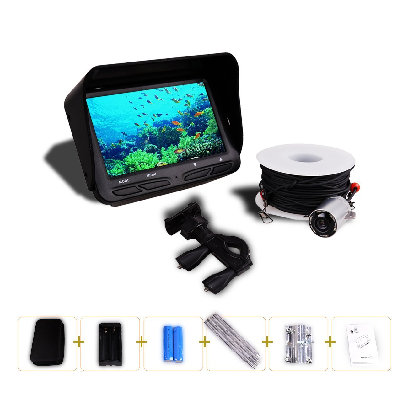 HBUDS Fishing Finder , 4.3 inch TFT LCD Fishing Underwater Camera 140 Degree Wide Angle Lens Monitor for Boat,Ice,Lake Fishing