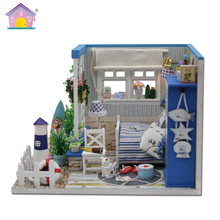 Assemble DIY Doll House Toy Wooden Miniatura Doll Houses Miniature Dollhouse toys With Furniture LED Lights Birthday Gift M025