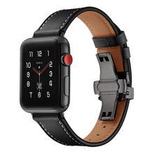 Ремешок итальянский для apple watch 5 band 44 мм 42 мм, натуральный кожаный браслет бабочка для iWatch Series 6 5 4 3 SE 40 мм 38 мм