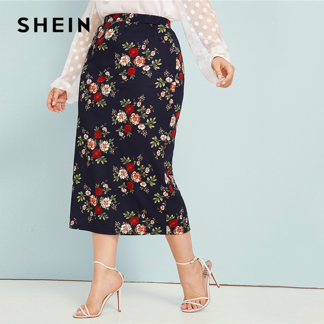 SHEIN Plus Size Abaya Navy Floral Print Pencil Skirts Womens Summer Autumn Big Size Elegant Plus Bodycon Long Skirt