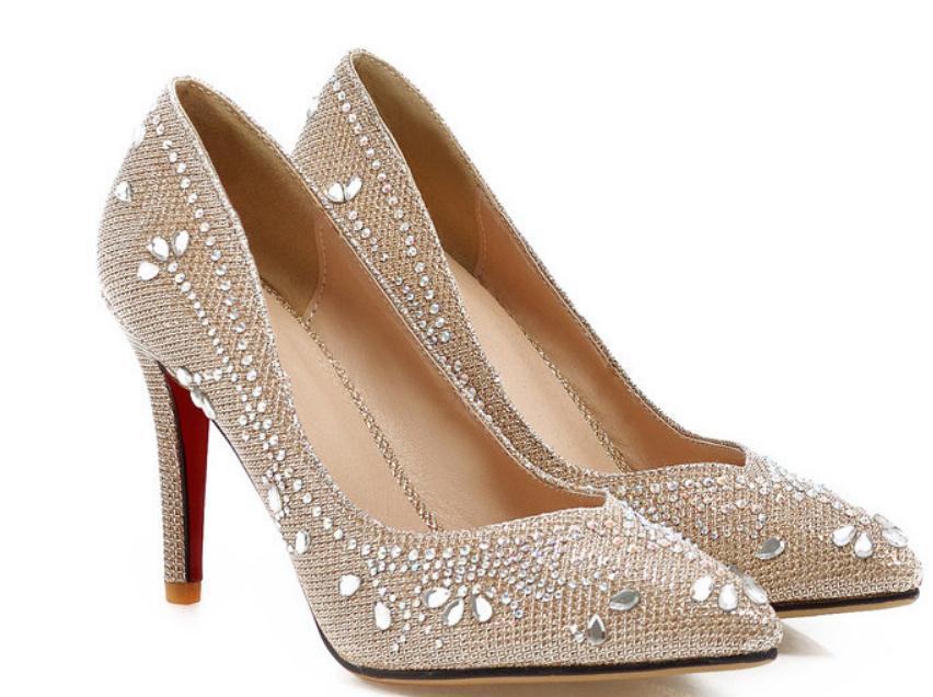 b9660fe7e Noiva Extremidade Mulheres Pontiaguda Primavera prata 2017 Livre Sapatos  Enviar Alto De Fino Água Salto Broca OuroDourado 0OwPkX8n