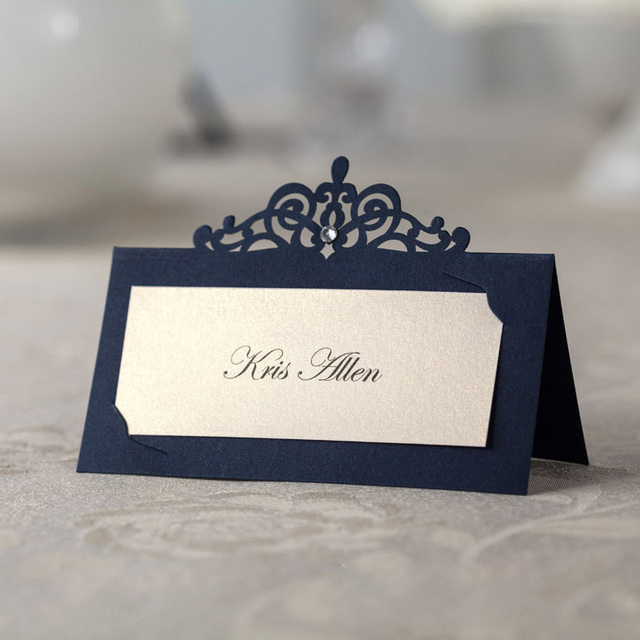 22pcs Laser Cut Vintage Luxury Crystal 22 Name Place Cards Wedding Favors  Ceremony Name Cards Table