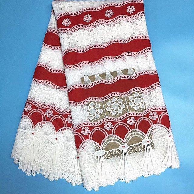 White Red African Fabric Beaded Milk Fiber Mesh Fabric Nigerian Lace