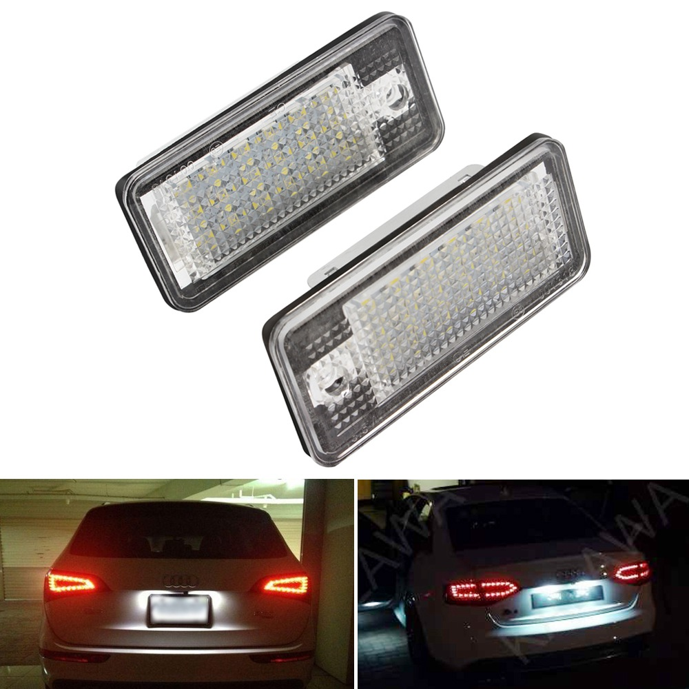 18 LED 6000K License Plate Lights For Audi Q7 A3 S3 S4 B6 A6 C6 A8 S8 Car-Styling Lamps Automobile Auto Lighting Accessories smaart v 7 new license