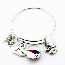 ФОТО newest i love football with england patriots team ginger snap button adjustable expandable bangle charm bracelet 10pcs