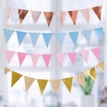 Guirlande décorative pour fête prénatale anniversaire, banderole décorative pour chambre denfant, 3m, 12 drapeaux, banderole