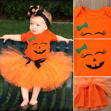 ea87c43edb New Halloween Pumpkin Kid Girl Clothes Set Baby Girl Smiley Face Romper  Orange Tutu Tulle Skirt Toddler Outfit Chidlren Clothes