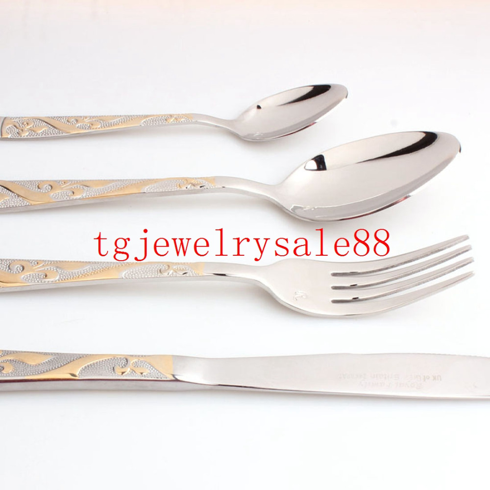 Top Polishing Silver Gold Tone Flower Pattern Stainless Steel Tableware Sets Dinner Service 4pcs sets Fork