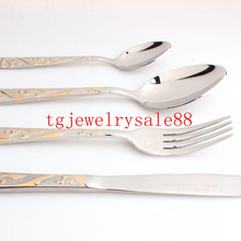 Top Polishing Silver Gold Tone Flower Pattern Stainless Steel Tableware Sets Dinner Service 4pcs/sets Fork/Spoon/Knife Flatware