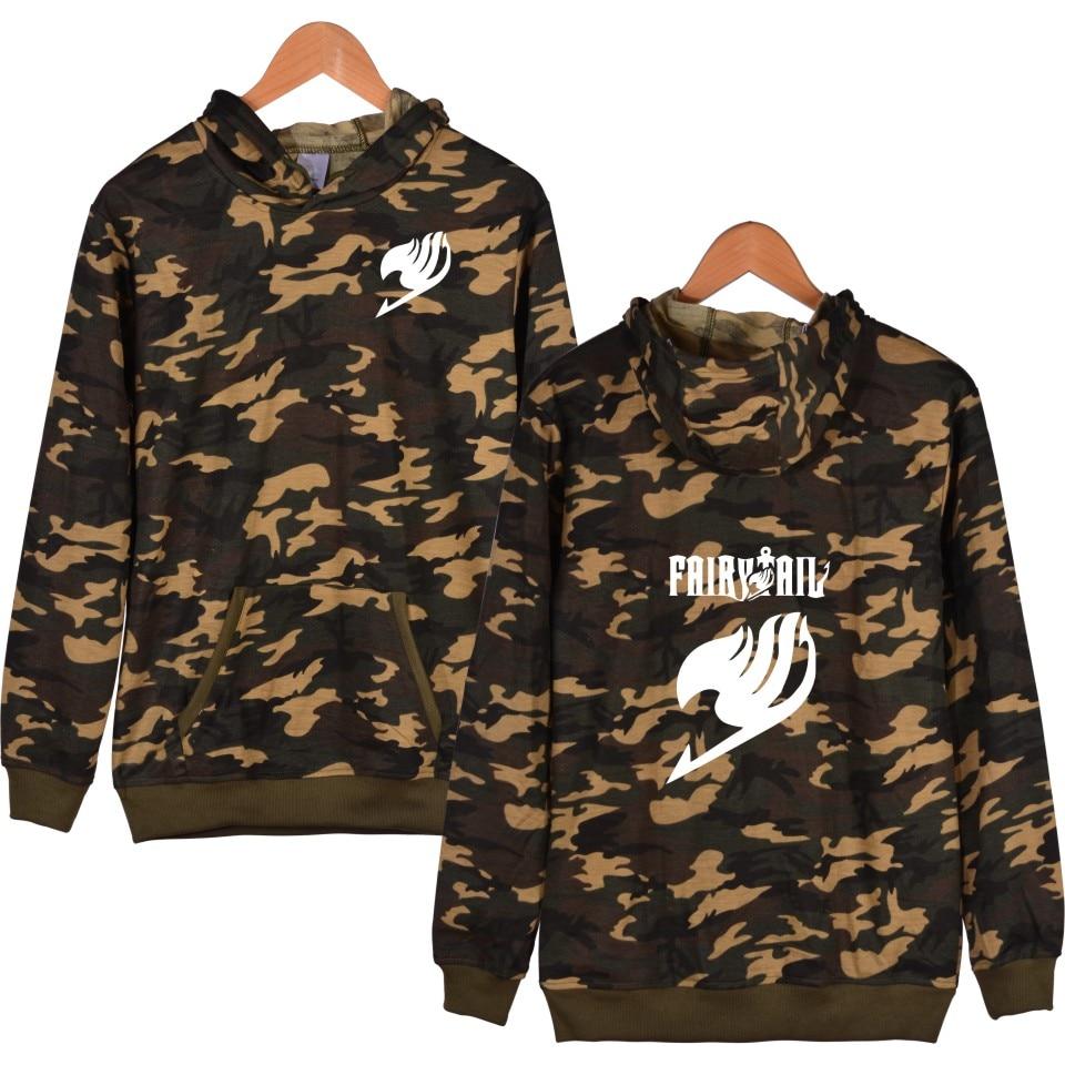 Fairy Tail Anime Camouflage Hooded Mens Hoodies And Sweatshirts Winter Funny Hoodies Men Hip Hop Classic Japanese Cartoon Clothe