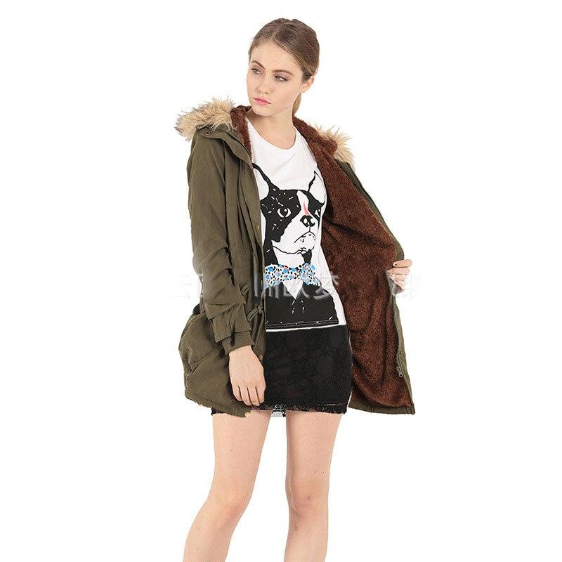 Et Col khaki Mode Femmes Vêtements armygreen Hiver Fourrure Manteau Nouveau Europe Les unis À De Capuchon Épais Couleur États Black Coton Mince Solide Al7828 gxqq56YwX