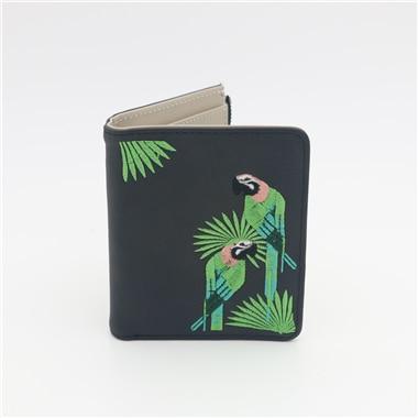 Женский кошелек с вышивкой птицы Portefeuille Femme на молнии, короткий кошелек, кожаный держатель для карт, зеленый, синий, розовый, черный, женские кошельки - Цвет: black