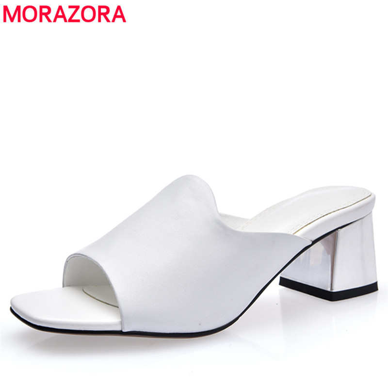 MORAZORA Plus size 34-42 New high quality genuine leather shoes woman mid heels women sandals solid color white summer shoes morazora bind pu solid high heels shoes 5cm in summer fashion elegant party shoes sandals party large size 34 42