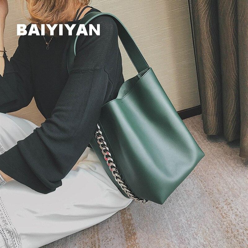 Mulheres novo Design Da Marca de Grande Capacidade Sacola Bolsa de Ombro Cadeia Balde Saco de Alta Qualidade PU de Couro Das Senhoras Saco de Composto