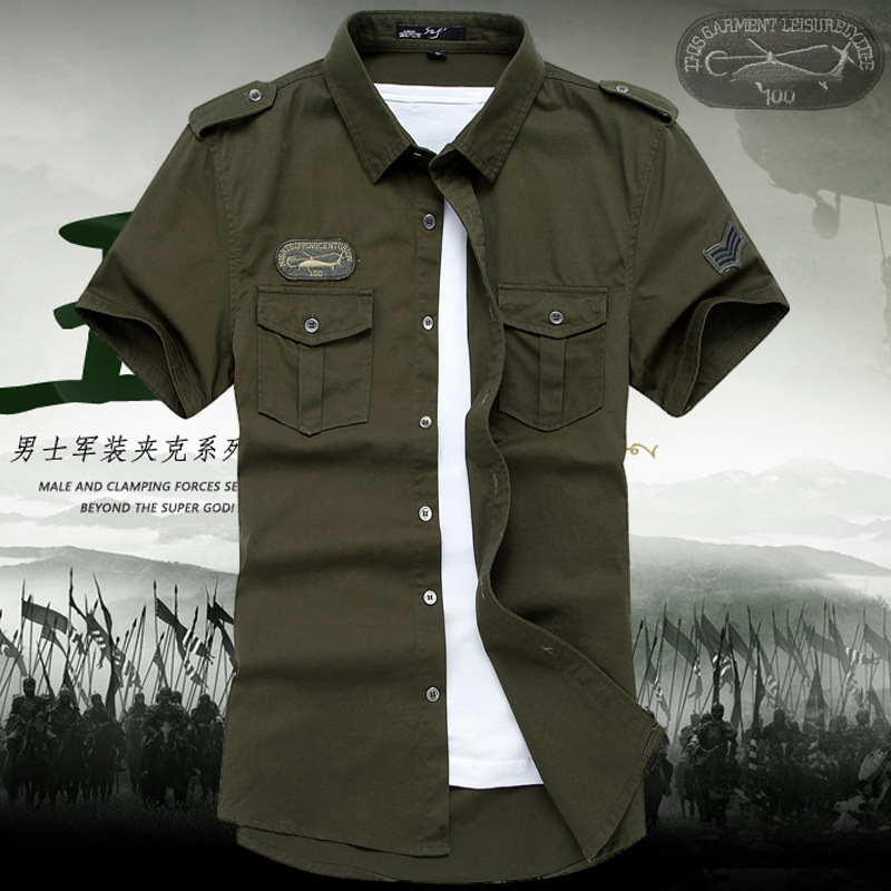 NianJeep Summer Army Casual <font><b>Shirt</b></font> <font><b>Men</b></font> Fashion Embroidery Short Sleeve Military High Quality Cotton <font><b>Mens</b></font> <font><b>Shirts</b></font> puls size <font><b>6XL</b></font> image