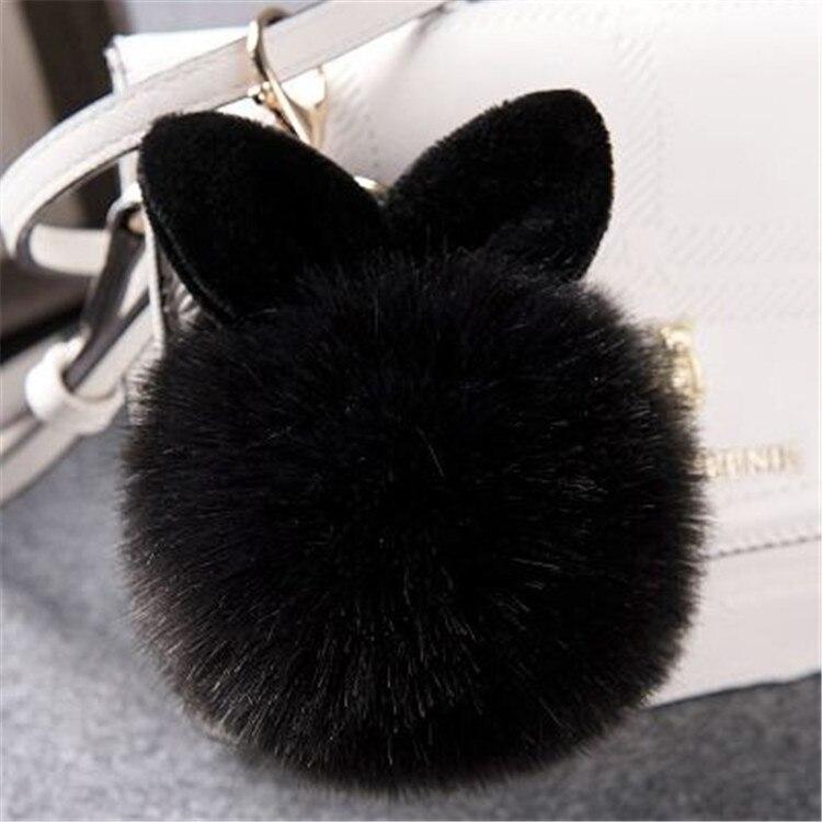 2017 Fur Pom Pom Keychain Fake Rabbit fur ball key chain porte clef pompom de fourrure pompon Bag Charms bunny keychain Keyring 51