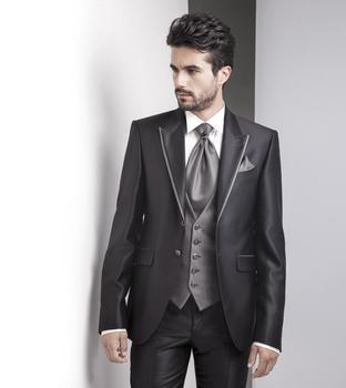 High Quality Two Button Black Groom Tuxedos Groomsmen Men's Wedding Prom Suits Custom Made (Jacket+Pants+Vest+Tie) K:260